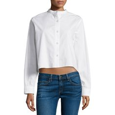 rag & bone/JEAN Leeds Button-Front Cropped Blouse (790 SAR) ❤ liked on Polyvore featuring tops, blouses, white, cropped white blouse, white mandarin collar blouse, white blouse, long sleeve crop top and long sleeve tops
