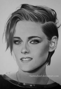 Kristen Jaymes Stewart by LarissaBoef on DeviantArt Realistic Pencil Drawings, Art Drawings Sketches Simple, Cool Drawings, Portrait Sketches, Pencil Portrait, Portrait Art, Africa Painting, Jacob Black Twilight, Person Drawing