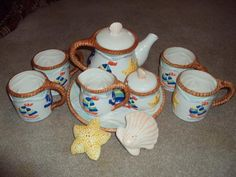 10 Piece nautical tea set perfect for the beach cottage or the pool/patio
