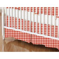 Red gingham bed skirt and fitted sheet