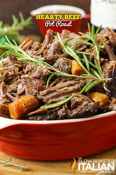 Hearty Beef Pot Roast is so tender and juicy the beef melts in your mouth. A simple one-pot meal with layers of flavor in a heavenly rich gravy that is loaded with veggies. Beef Pot Roast, Pot Roast Recipes, Beef Recipes, Dinner Recipes, Cooking Recipes, Rub Recipes, Beef Dishes, Food Dishes, Gourmet