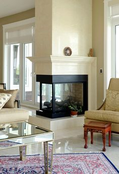 3 Way Gas Fireplace . 3 Way Gas Fireplace . This Stunning Three Sided Gas Fireplace forms Part Of A Room Corner Fireplace Mantels, 3 Sided Fireplace, Home Fireplace, Fireplace Remodel, Modern Fireplace, Living Room With Fireplace, Fireplace Surrounds, Fireplace Design, Living Room Decor