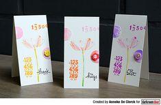 Tall cards by Anneke De Clerck using Darkroom Door Number Medley and Full Bloom Vol 1 Stamp Sets