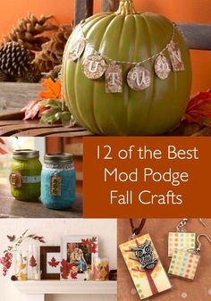 """Get ready for autumn with these 12 Mod Podge fall crafts! You'll love decoupaging with these pretty colors . . . this is the """"best of"""" list."""