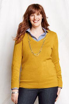 Women's Long Sleeve Lofty Cotton Blend V-neck Sweater from Lands' End