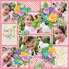 Colorful Easter scrapbook layout. 10 Easter Scrapbook Layouts.