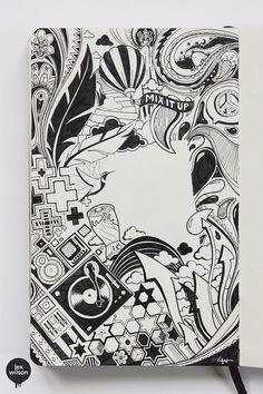 Moleskine illustrations by lex wilson, via behance diseño татуировки предпл Doodle Art Drawing, Illustration Art Drawing, Art Drawings Sketches, Illustrations, Drawing Ideas, Graffiti Doodles, Posca Art, Love Doodles, Doodle Designs