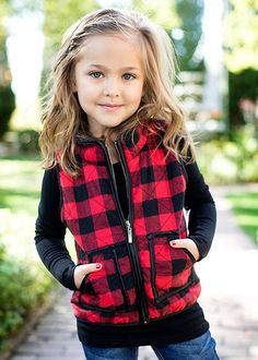 Girls Buffalo Plaid Quilted Vest Cute Warm Padded Gilet Sleeveless Jacket - Red - - Kids Clothing for Girl - Kids Little Girl Outfits, Little Girl Fashion, My Little Girl, My Baby Girl, Toddler Fashion, Toddler Outfits, Kids Fashion, Kids Outfits Girls, Toddler Girl Clothing