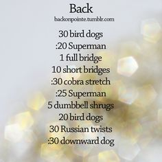 back workout. Repeat 2-3 times