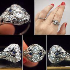 art deco platinum diamond two stone ring Reverie estate jewelry nyc