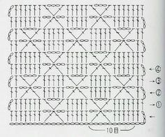 Crochet Scarf Diagram, Crochet Stitches Chart, Crochet Lace Edging, Granny Square Crochet Pattern, Cotton Crochet, Crochet Designs, Crochet Patterns, Fillet Crochet, Square Patterns