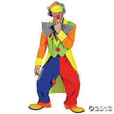 Spanky Stripes Clown Large Adult Men's Costume