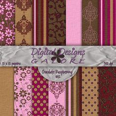 Chocolate Raspberry 2 Digital Paper Pack by DigitalDesignsGalore, $3.99