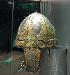 Spangenhelm helmet, 6th century. This was the most common helmet in Europe from late Antiquity to the early Middle Ages. This one is from a 6th century Merovingian grave, the Fürstengrab of Planig. Landesmuseum Mainz.