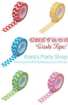CHEVRON Washi Tape! LOVE! Tons of other designs available too! Kara's Party Shop KarasPartyIdeas.com/Shop