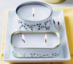 Tin Can Crafts, Diy And Crafts, Diy Candles At Home, Tea Light Candles, Tea Lights, Painted Tin Cans, Tin Can Art, E Craft, Recycle Cans
