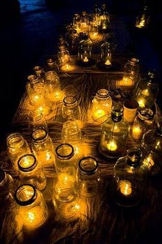 mason jar lanterns - we save jam jars etc and put little candles in and dot them around the patio, they look stunning!  Takes a while to light all the candles but once they're done they easily last through dinner and sometimes dancing!!