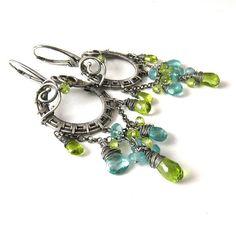 Dangle silver wire wrapped earrings aqua blue by MadeBySunflower, $140.00