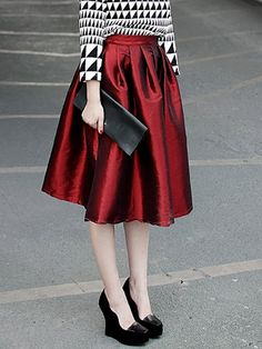Falda plisada-rojo
