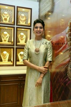 Discover thousands of images about Samantha Ruth Prabhu Indian Attire, Indian Wear, Indian Dresses, Indian Outfits, Churidar Designs, Indian Jewellery Design, Anarkali Dress, Samantha Ruth, Indian Designer Wear