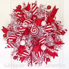 Hey, I found this really awesome Etsy listing at https://www.etsy.com/listing/256983463/candy-cane-wreath-deco-mesh-wreath