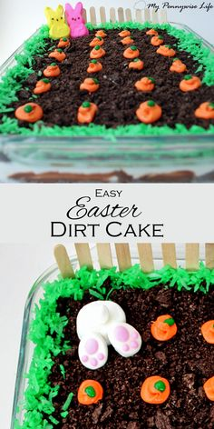 - Easy Easter Dirt Cake: An easy, festive, no-bake Easter dessert. (Gluten-free op… Easy Easter Dirt Cake: An easy, festive, no-bake Easter dessert.) via My Pennywise Life Easy Easter Recipes, Easy Easter Desserts, Easter Snacks, Easter Treats, Holiday Desserts, Holiday Treats, Easter Cake Easy, Spring Desserts, Easter Food
