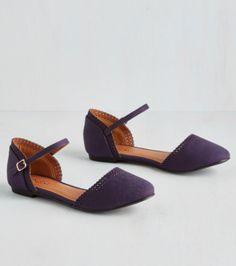 purple ankle strap flats