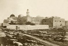 """1857 picture, original caption: """"The Tomb of David. This building was formerly a Christian Church; it is of great antiquity, and much venerated by the Muslims, who allow no Christian to enter the Tomb. There is also in the building a room which is said to be that in which [Jesus' Last] Supper was instituted."""" (Robertson Beato & Co photographers, Palestine Exploration Fund)"""