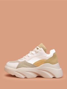 33e36c0f7 Shoes · Shop Suede Panel Chunky Sole Trainers online. SheIn offers Suede  Panel Chunky Sole Trainers