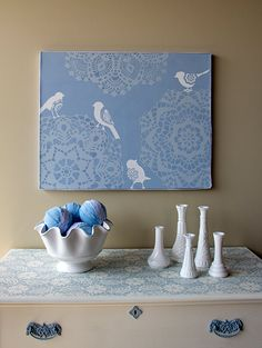 Stencil How-to: Lace Canvas Combo | Paint + Pattern