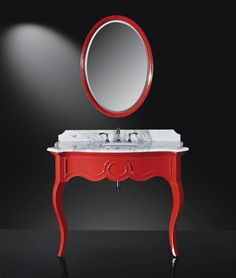 The Sonnet's minimalist design is clean, simple, and incredibly stylish and available high-gloss red or high-gloss black. Carrara marble top and matching mirror optional.    #LuxePintoWin