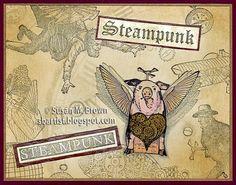 """steampunk cards   Steampunk """"Fluttering"""" Pig card by Susan M. Brown   Steampunk"""