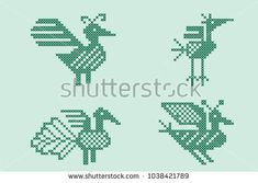 A set of birds made in the style of cross-stitch embroidery. Inspired by ancient folk art. In modern colors.