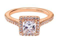 Rose gold princess square halo diamond engagement ring, Gabriel & Co.