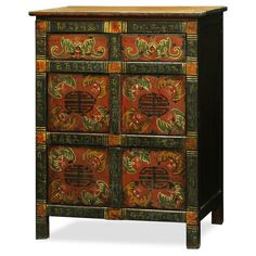 Hand-Painted Tibetan Cabinet. As a timeless centerpiece, the expressive art style of Tibetan culture is manifested in this chest. Tibetan furniture.