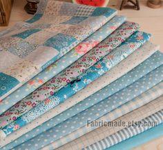 Blue Bundle Blue Linen Cotton Fabric Bundle Blue by fabricmade, $11.60