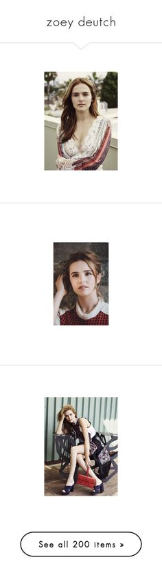 """zoey deutch"" by pryderus ❤ liked on Polyvore featuring zoey deutch, people, home, home decor, tops, t-shirts, blue tee, blue top, blue t shirt and white tee"
