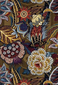 Fabric Patterns Zanzibar Linen Print in Cerulean - Schumacher Fabric - Motifs Textiles, Textile Patterns, Print Patterns, Floral Patterns, Pattern Art, Pattern Design, Art Deco Print, Motif Floral, Fabric Wallpaper