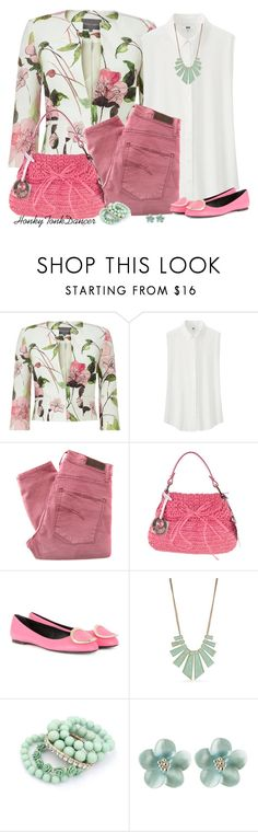 """Floral Jacket"" by honkytonkdancer ❤ liked on Polyvore featuring Phase Eight, Uniqlo, Nobody Denim, Fendi, Roger Vivier and New Directions"