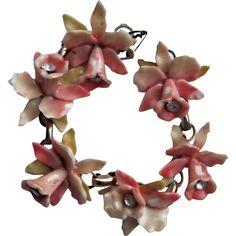 Vintage Art Deco Carved Celluloid Orchid Links Bracelet