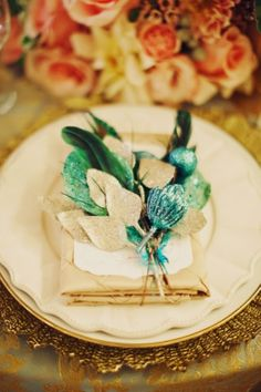Teal and coral placesetting