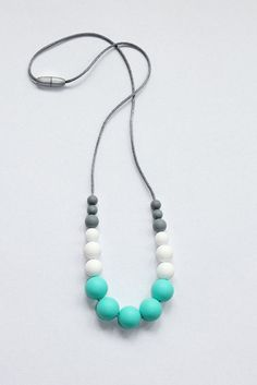 Silicone Teething Nursing Necklace chew chewable jewelry beads Baby JELLERY T5 . #Jellery