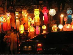 Lamps line the streets for Diwali.