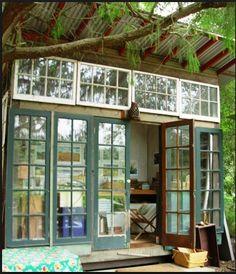 reuse old doors and windows in garden