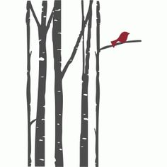 Silhouette Design Store: birch trees with bird