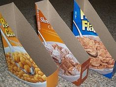 make magazine/book holders using cereal boxes -- cover with cute wrapping paper to cover up the cereal graphics