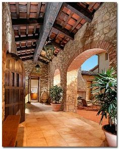 More and more homeowners are opting for a Tuscan landscape design for Old World charm that blends the elegance of their fine home with the natural beauty of simple gardens.To create a Tuscan garden look, consider these flooring options: Tuscan Style Homes, Mediterranean Style Homes, Spanish Style Homes, Mediterranean Architecture, Unique Architecture, Spanish Colonial, Tuscan Garden, Tuscan House, Tuscan Courtyard