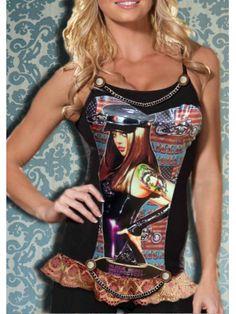 camiseta corset, divertida, original y asienta ya que va adaptada a la camiseta de algodón, en el bajo puntilla en tonos ocres fruncida, dibujo de Motera y cadenas detalle