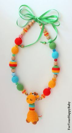 Nursing necklace Breastfeeding necklace with von ForYourHappyBaby Baby Necklace, Nursing Necklace, Teething Necklace, Crochet Necklace, Breastfeeding Necklace, Fiber Art Jewelry, Crochet Baby Toys, Yarn Thread, Kids Jewelry
