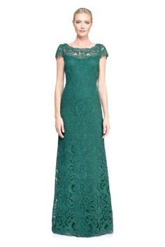 Tadashi Shoji Corded Embroidery on Tulle Cap Sleeve Gown